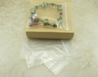 """3"""" x 3"""" Square Size Zip Lock Baggies Baggy Bags - For Jewelry, Beads, Small Items, Coins, Parts, Samples, Etc - QTY 100 Pieces"""