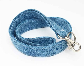 Fabric ID Lanyard, Handmade Swivel Clip ID Holder, Lanyard ID Badge Holder, Fabric Neck Lanyard - tiny blue flowers