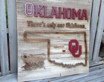 """OKlahoma Sooner State Cutout 23"""" x 23"""" approx. Item #613"""