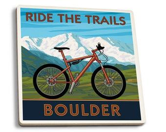 Boulder, CO - Mountain Bike - LP Artwork (Set of 4 Ceramic Coasters)