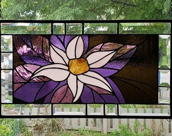 FLORAL ABSTRACT Stained Glass Window Panel ©2002-2018LJMurray Stained Glass Visions