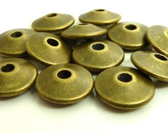 12mm Antique Bronze Metal Beads - 20pcs - Round Saucer, Rondelle, Spacer - BH6