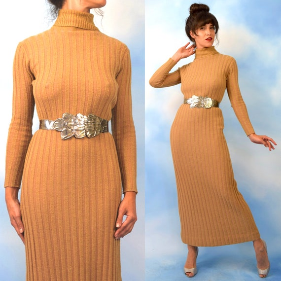 Vintage 70s Minimalist Buff Wool Blend Ribbed Knit Curve Grazing Long Sleeved Floor Length Turtleneck Sweater Dress (size medium, large)
