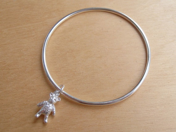 Sterling Silver Childrens Bracelet With Teddy Bear
