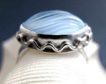 Blue Ring - Sterling Silver and Vintage Glass