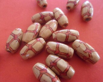 Wooden beads, patterns - 15mm x 7mm