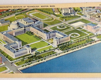 MIT, Vintage Postcard, Massachusetts Institute of Technology,  Harvard Bridge, Boston,  Linen Postcard