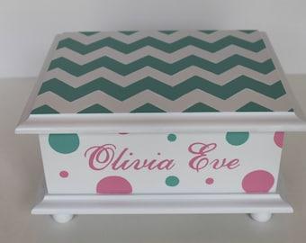 Baby Keepsake Box - Chevron and polka dots - Baby Memory Box personalized baby girl shower gift hand painted