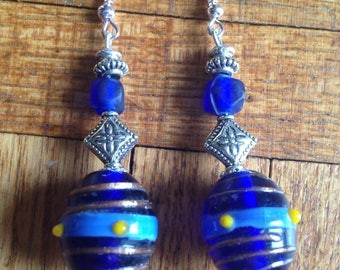 Original glass bead earrings blue and silver