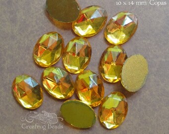 Vintage Cabochons - 10x14 mm Topaz Yellow - 6 West German Faceted Glass Stones