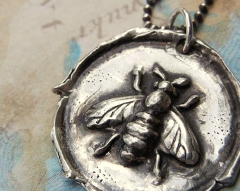 Honey Bee Jewelry, Honey Bee Wax Seal Necklace, Silver Honey Bee Wax Seal Pendant, Honey Bee Necklace, Bee Jewelry, Bee Necklace, Silver Bee