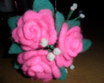 Needle Felted Pink Wool Rose Bouquet