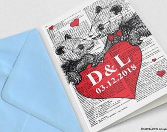 Biglietto d'amore panda innamorati-inviti personalizzati-regalo per lei-biglietto anniversario-biglietti san valentino-biglietti auguri
