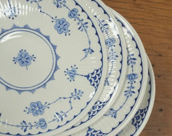 4 Saucer Plates Denmark Blue by Franciscan, Ribbed Rim ~ Blue Transferware Replacement China