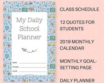 2019 Daily School Planner with Calendar Printable PDF