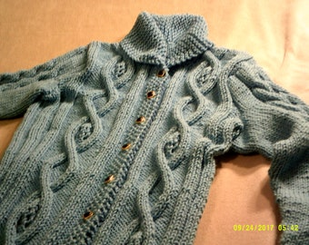 Celtic, cabled long sweater coat, small