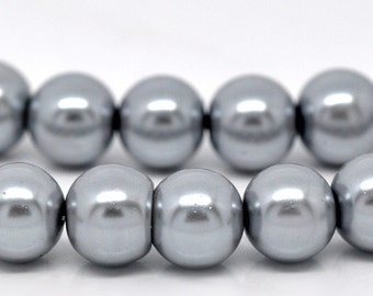 10mm Silver Grey Gray Glass Pearl Imitation Round Beads - 16 inch strand