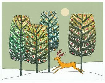 "10"" x 8"" Art Illustration Print Green Gold Brown Trees Golden Deer Snow Landscape Decorative Art"