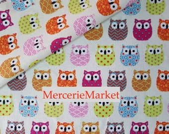 fabric 1/2 meter owls + 100% cotton + width 160 cm + colorful + merceriemarket
