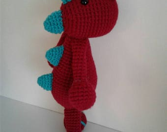 Adorable crochet dinosaur amigurumi doll red with blue spikes; great gift; ready to ship
