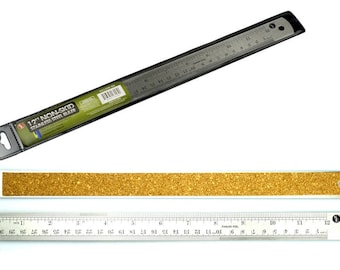 12 inch Non Skid Stainless Steel Ruler SAE & Metric Cork Backed Stained Glass Supplies