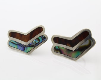 Vintage Sterling Silver Tribal Inlay Artisan Chevron Clip Earrings Abalone. [35]
