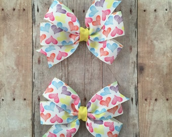 Hearts Pinwheel Set, Heart Bow, Valentine's Day Bow, Heart Hair Bow, Heart Pigtail Set