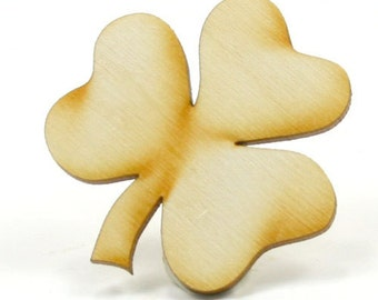 Unfinished Wood Shamrock with 3 leaves - 3 inches tall by 3 inches wide with 1/8 inch thick wooden shape (SHAM09)