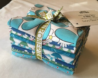 RARE Daisies and Dots Piece o Cake Fat Quarter Bundle Turquoise Out of Print Dots Blue Green Children Quilting Sewing piecesofpine