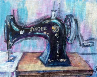 "Singer sewing  machine painting original art 5 x 7"""
