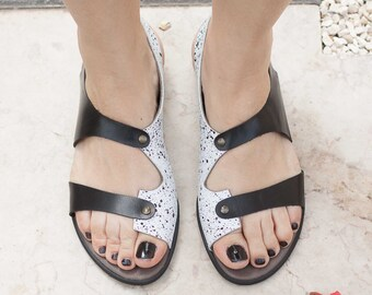 Leather Sandals, Printed Leather Sandals, Summer Shoes, Flat Shoes, Black and White Shoes , Free Shipping