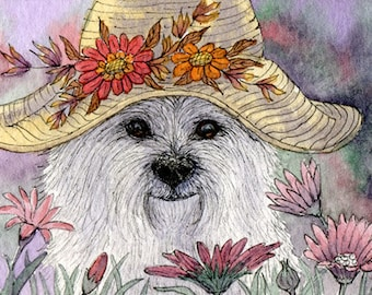 West Highland terrier Westie dog in hat 8x10 inches print by Susan Alison