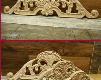 """Carved Wood-Appliqué- Hand Carved Applique-  Elegant   Onlay -HardWood- 18 1/4"""" w   ref.Mj9"""