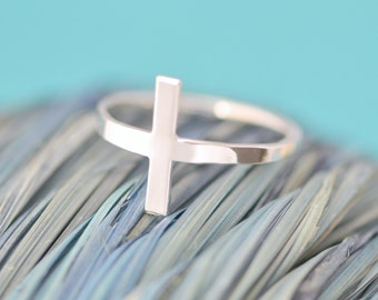 Cross Ring, Sterling Silver Cross, Sideways Cross Ring, Christian Jewelry, Side Cross Ring, Faith Ring, Religous Jewelry