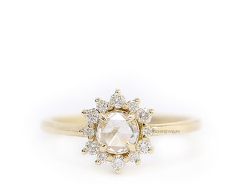 Rose Cut Round Diamond Engagement Ring,Gold Diamond Halo Ring, Rose Gold Diamond Crown Cluster Ring
