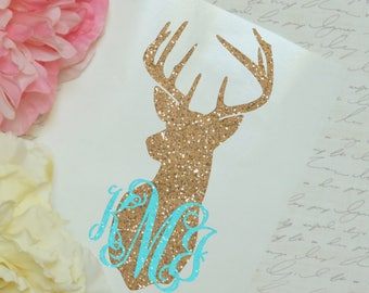 Deer Monogram Glitter Decal, Glossy and Glitter Monogram Sticker, Tumbler Decal