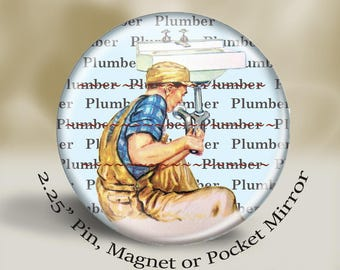 Retro Plumber Magnet or Pin, vintage working dad, vintage plumber, large 2.25'' magnet, retro illustration, vintage illustration