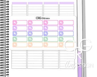 Pastel Stars White Label Stickers for Plum Planner | Erin Condren Planner Filofax Sticker