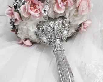 Blush Pink Vintage Crystal Brooch Bouquet. FULL PRICE Rose Flower crystal bling diamond Elegant Glam bouquet
