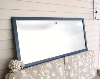HUGE Conference Room Office Bulletin Board - Magnetic Memo Board Organizer Oversized Framed Board Galvanized Steel 22 x 52 Slate Blue Frame