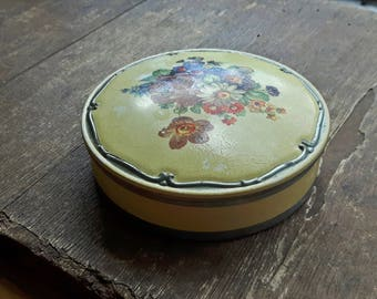 Vintage metal enamelled painted box, storage box, jewelry box, candy box