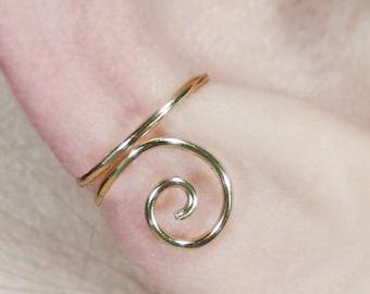 Ear Cuff, Gold, Swirl, Spiral