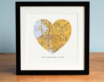 Map of Salt Lake City Utah, Heart Map, Salt Lake Map, Vintage Map, Antique Map Art, Personalized Map Art, Christmas Gift