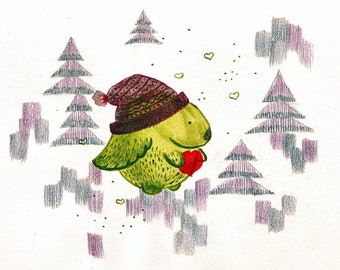 Greeting card: Kukunos with red heart. Hand-drawn illustration.