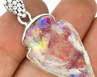 "Arrowhead Angel Aura Quartz Crystal Gemstone Pendant  925 Sterling Silver 1 3/4"" Jewelry P13"