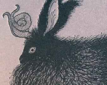 Black Angora Bunnylope Card