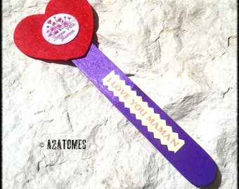 "Bookmark ""i love you MOM"" red felt heart lever back violet recycled wood."