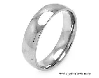 Silver Ring Band, Sterling Silver Ring Band, 925 Sterling Silver Wedding Band, 4mm Silver Men's Band