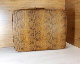 Vintage suitcase, Old suitcase, Suitcase with leather, Brown suitcase, Travel suitcase, Vintage luggage, Big suitcase, Antique suitcase