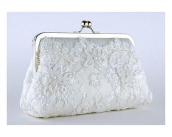 Bridal clutch, Alencon Beaded and Appliquéd Lace  Silk Clutch in White off,  wedding clutch, Purse for wedding
